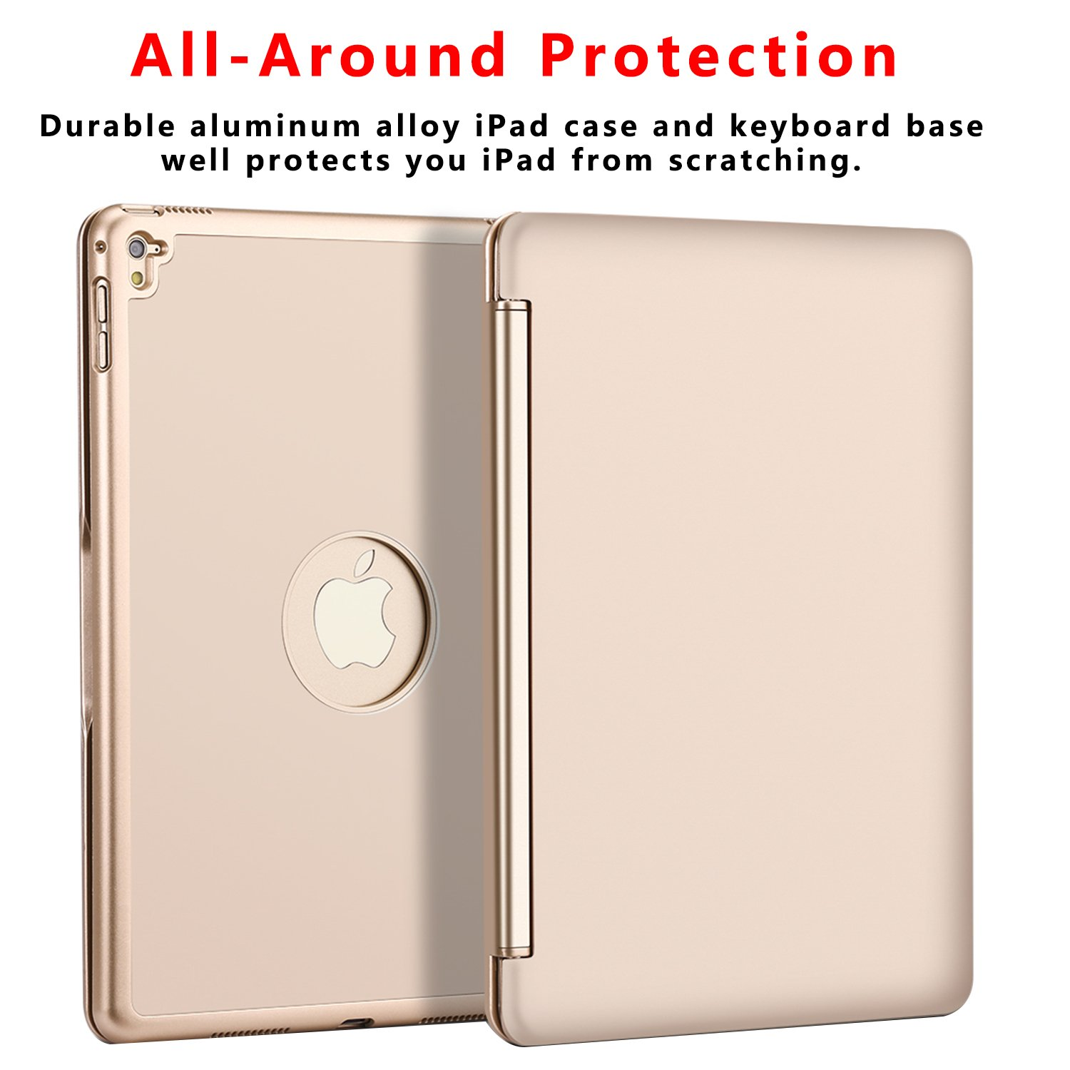 Ipad Pro 9.7 Keyboard Case, NOVT Aluminum Alloy Ultra Thin Smart Bluetooth Wireless Keyboard 7 Color Led Backlit with Protective Case Cover Stand Auto Sleep/Wake for Apple iPad Pro 9.7 Inch (Gold) by NOVT (Image #3)
