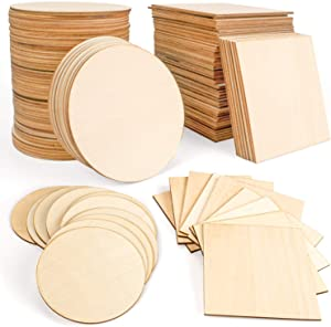 JamBer 100 Pcs Wood Slices 4x4 Inch Unfinished Wood Pieces for DIY Coasters Arts and Crafts School Projects Home Wall Decoration Scrabble Tiles, 50 Pcs Wood Squares, 50 Pcs Wood Circles