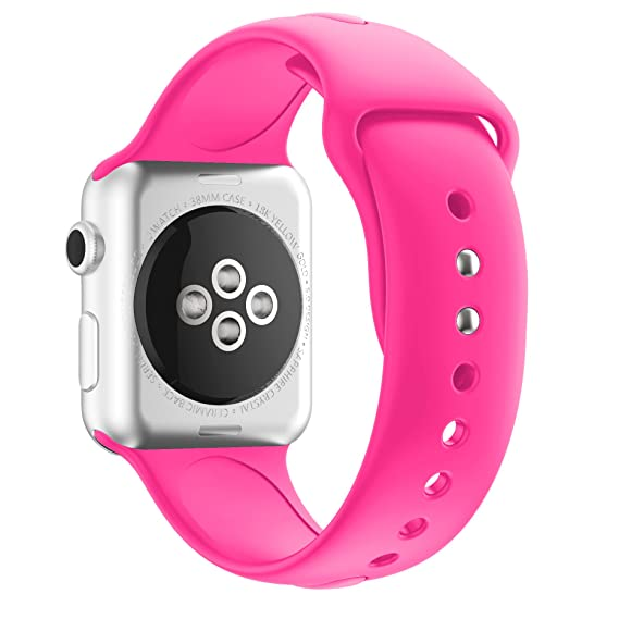 Amazon.com: Soft Silicone Band For Apple Watch,Classic Sport ...