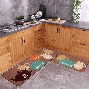 """Carvapet 2 Piece Non-Slip Kitchen Mat Rubber Backing Doormat Runner Rug Set, Pots (19""""x59""""+19""""x31"""")"""