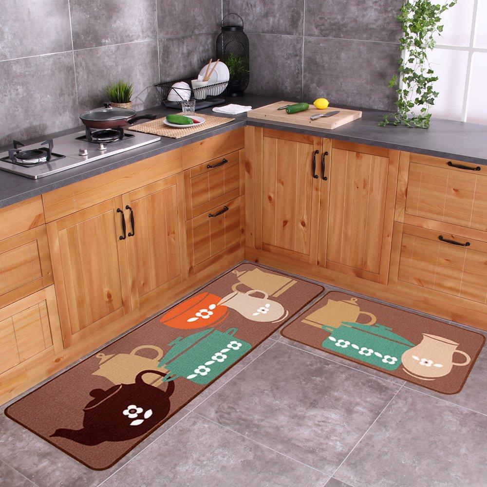 Carvapet 2 Piece Non-Slip Kitchen Mat Rubber Backing Doormat Runner Rug Set, Pots (19''x59''+19''x31'') by Carvapet (Image #1)