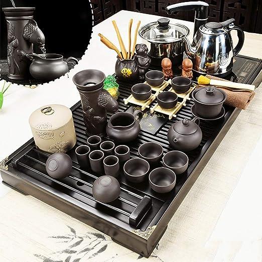 CJ Juegos de té Juego de té, caja de bandeja de té chino Kungfu for juego