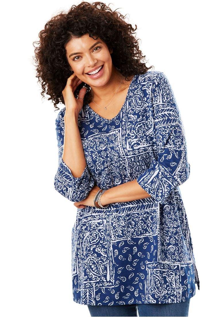 Women's Plus Size Perfect Print V-Neck Tunic