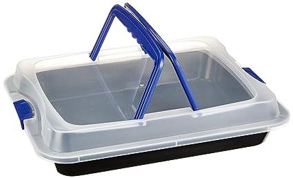 axentia 253808 - Fuente para horno antiadherente con tapa y asas (40 x 32 x