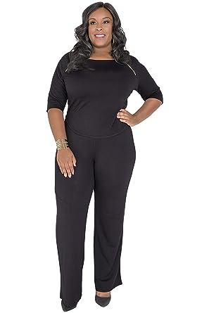 8ec66e366c36 Poetic Justice Plus Size Curvy Women's Black Wide-Leg Stretch Palazzo Pants  Size 1X