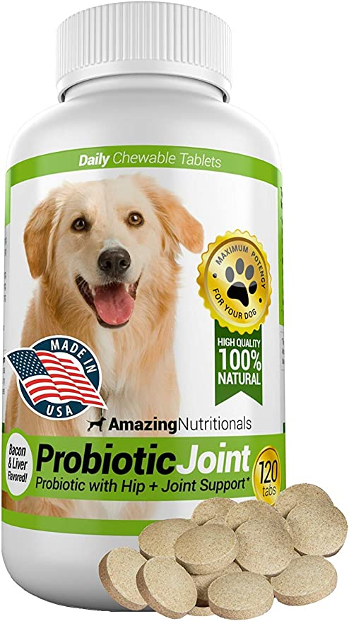 Amazing Probiotics for Dogs Eliminates Diarrhea and Gas with Hip Joint Pain Relief, 120 Chews