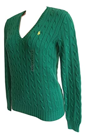 Brand New Womens Polo Ralph Lauren V Neck Dark Green Cable Knit