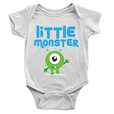 4128e6fad Little Monster Boy Babygrow Funny Cute New Baby Boy Arrival Present ...