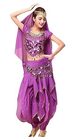 Huixin Mujer Danza Del Vientre Trajes Indian Dance 4 Pcs ...