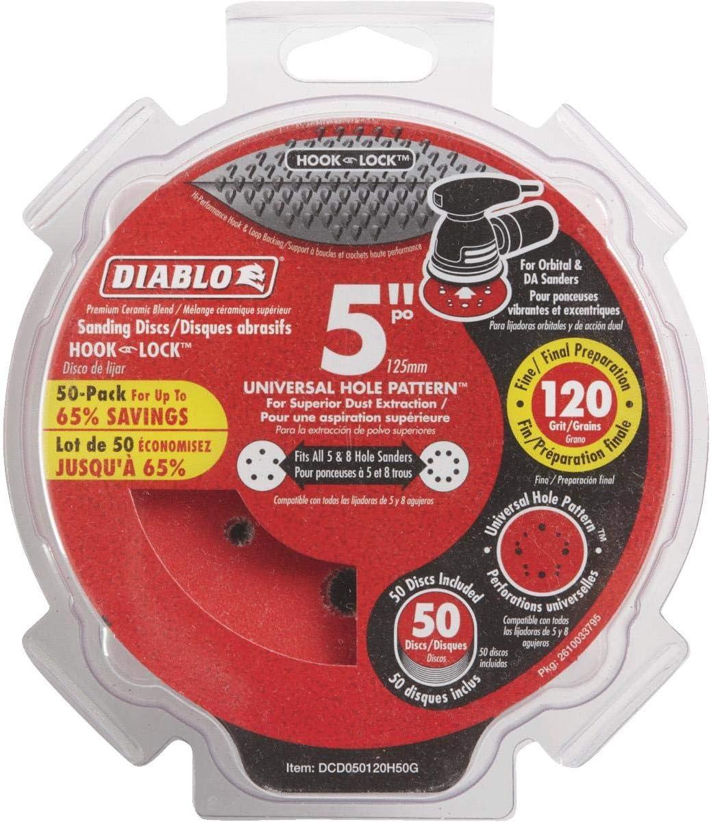 Diablo DCD050120H50G 5 in. 120-Grit Universal Hole Random Orbital Sanding Disc (50-Pack)