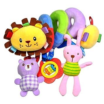 TOYMYTOY Juguete Espiral Colgantes Cochecito Cunas Juguetes de Actividad de peluche para bebés (León)