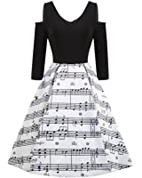 ZAFUL Womens 50s Vintage Sleeveless Music Notes Tea Dress Cocktail Party A-Line Midi Dress