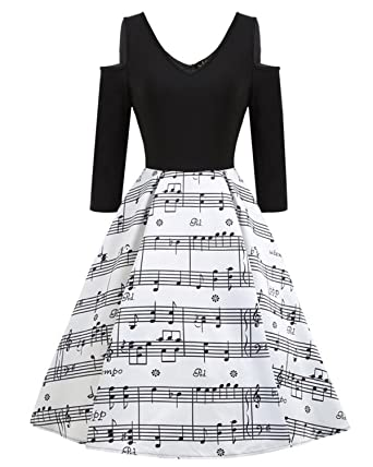 2b9cf9ae3a Women's 50s Vintage Sleeveless Music Notes Tea Dress Cocktail Party A-Line  Midi Dress