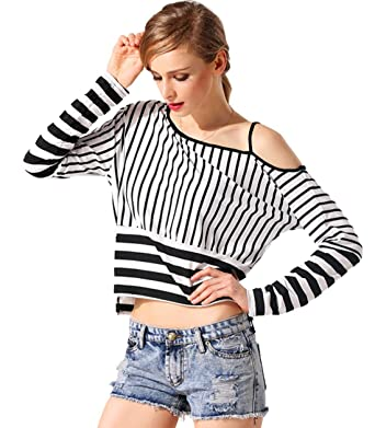 c5ca0d64039 Zeagoo Summer Womens One Shoulder Striped T-shirt Tops Casual Blouse,Black  and white