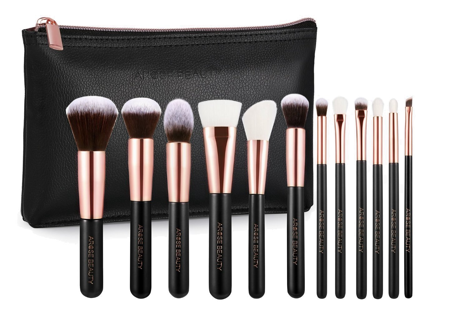 Amazon Brand - Arose Beauty Rose Gold Luxury Brush Set 12pc Makeup Face & Eye Essentials | Premium Quality Handcrafted Soft and Plush