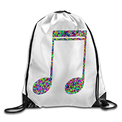 Prismático Low poly Nota Musical gimnasio bolsa con cuerda cordón mochila
