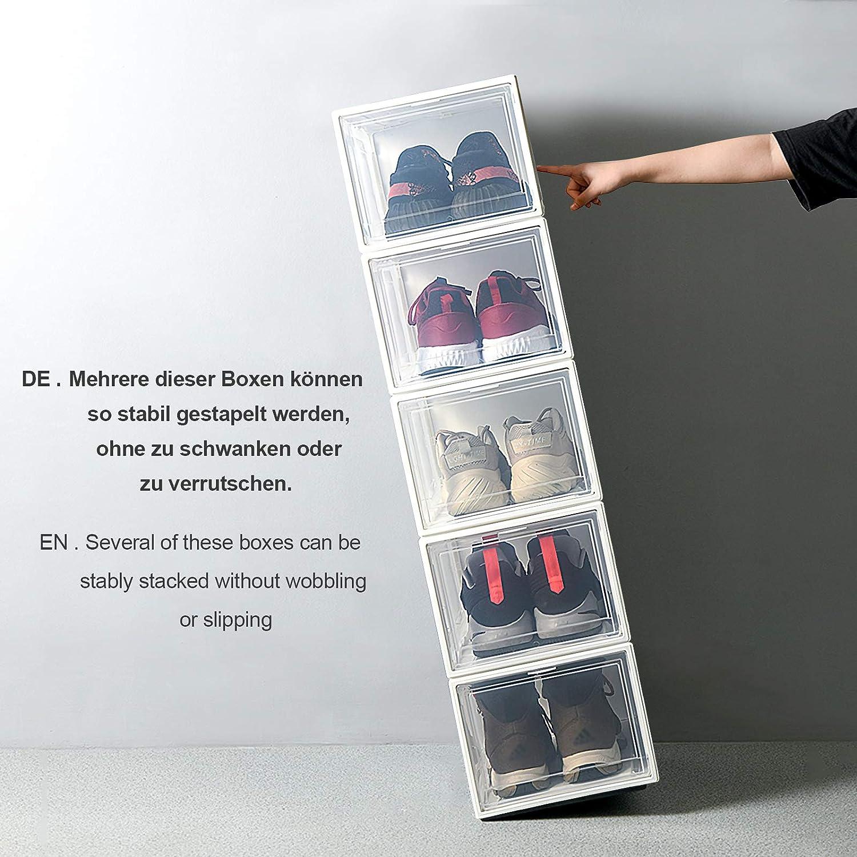 Yorbay Set da 3 Pezzi Scatola da Scarpe Fino a Taglia 48 37 x 26 x 16 cm Pieghevole Trasparente Impilabile Rimovibili Bianco Home Organizer per Uomo//Donna