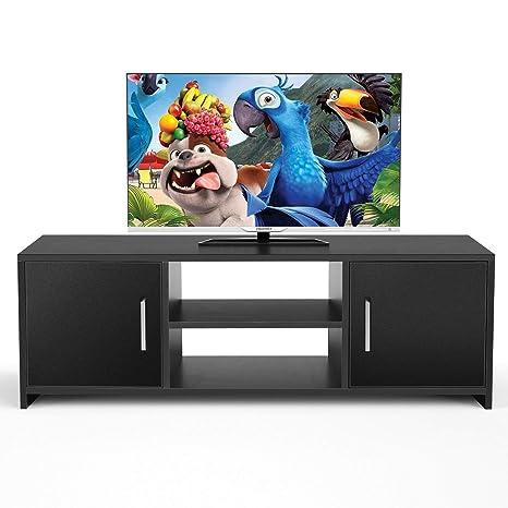 Homfa Mueble TV Salón Mesa para TV con 2 Puertas 1 Estante Negro 110x35x36cm