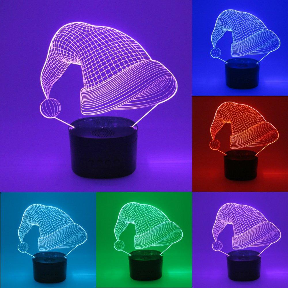 jspliton帽子3d LEDナイトライトBluetoothスピーカーOptical Illusionランプ、調節可能な7色変更ライトwithアクリルフラット& ABSスピーカーベース& USB充電器Great Toy Idea for Kids。(帽子) B078WP3TC7 12935