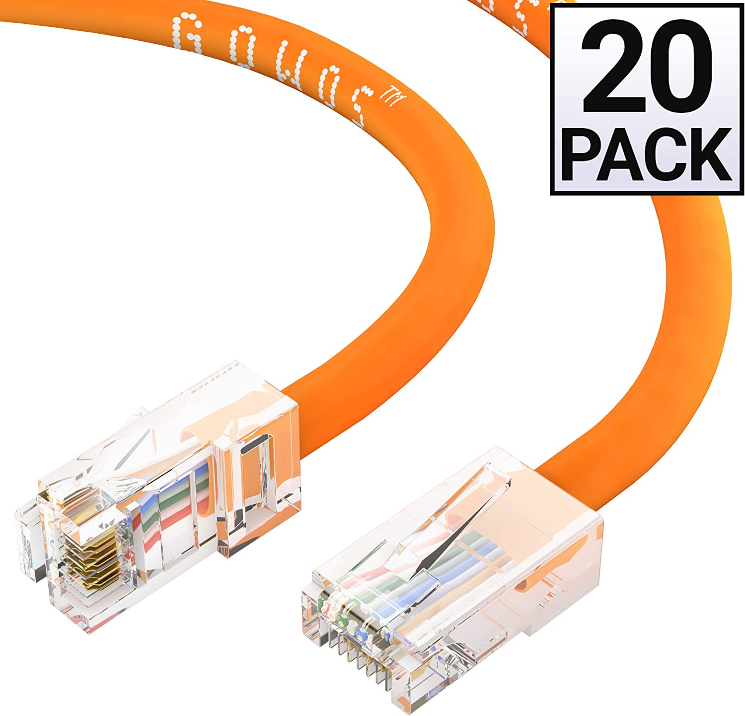 10 Gigabit//Sec High Speed LAN Internet//Patch Cable 550MHz Orange GOWOS Cat6 Ethernet Cable 24AWG Network Cable with Gold Plated RJ45 Non-Booted Connector 20-Pack - 0.5 Feet