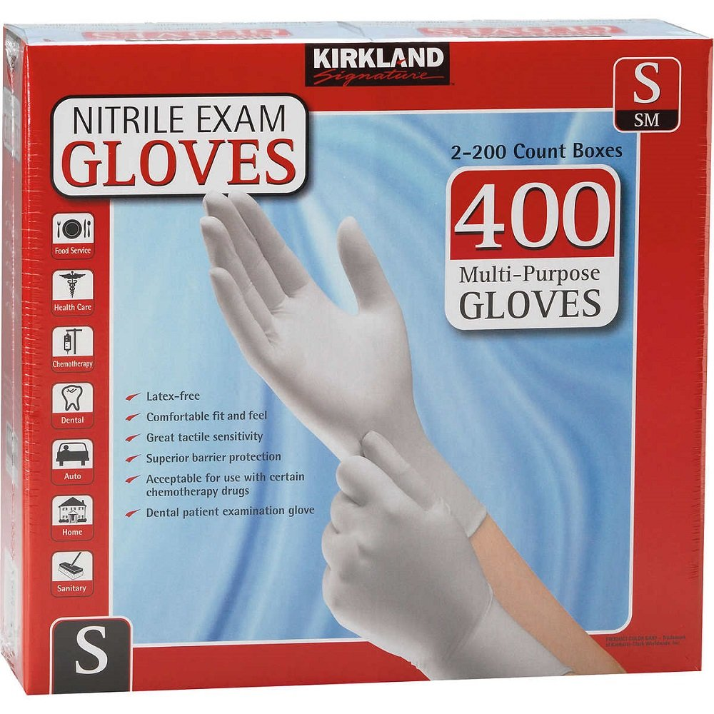 Kirkland Signature Nitrile Exam Gloves, Size Small 200-Count (2-Pack)