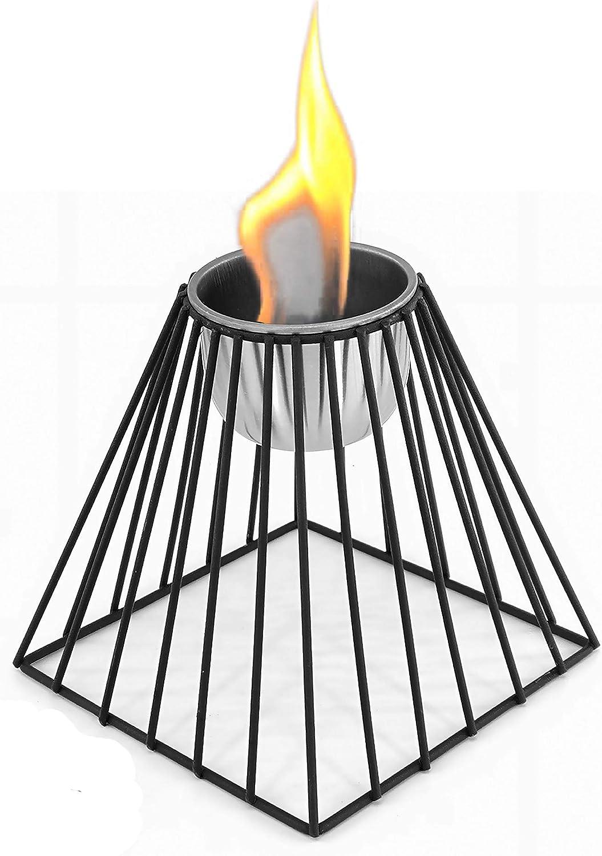 Bio-Ethanol-Brenner aus Edelstahl Tischkamin Bio-Ethanol Kamin Pulverbeschichtetes Metall Tischdeko Feuerschale Tischfeuer ver.Modelle-schwarz Pyramide: 13,5 x 13,5 x 15,5 cm
