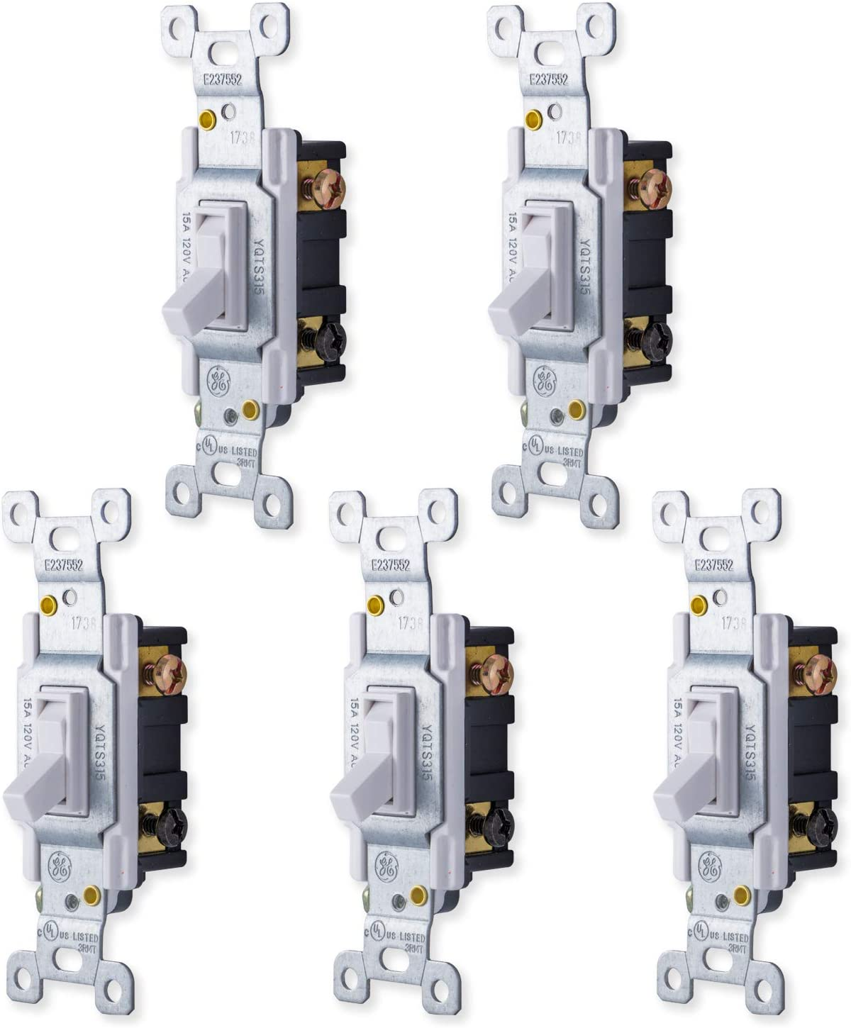 GE, White, Grounding Toggle 5 Pack, 3-Way, In Wall On/Off Fan & Light Switch Replacement, 15 Amp, For Home, Office & Kitchen, Ul Listed, Wallplate not included, 44030