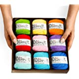 100% Pure Premium Natural Soft Cotton Yarn Collection Set for Knitting Crochet and Amigurumi. Pack of 9 Color Skeins. Sport Baby Weight. 50g and 185 Yards per Color. (Bright Collection)