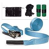 Relaxdays Slackline Set mit Baumschutz Hilfsseil Ratsche und Tasche, 10018538