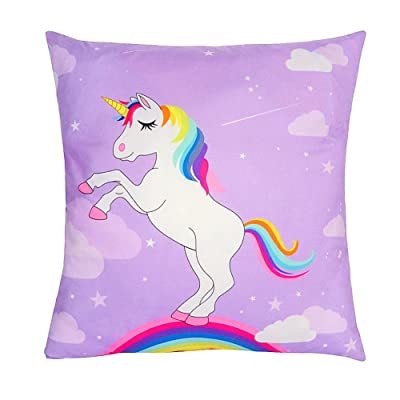 OurWarm 18 x 18-Inch Unicorn Throw Pillow Covers Decorative for Kids Birthday Home Decorations, Soft Polyester Rainbow Cushion Cover: Home & Kitchen