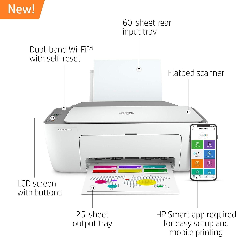 Hp Deskjet 2755 Impresora Inalámbrica All In One Impresión Móvil Escaneo Y Copia Tinta Instantánea Lista Funciona Con Alexa 3xv17a Electronics