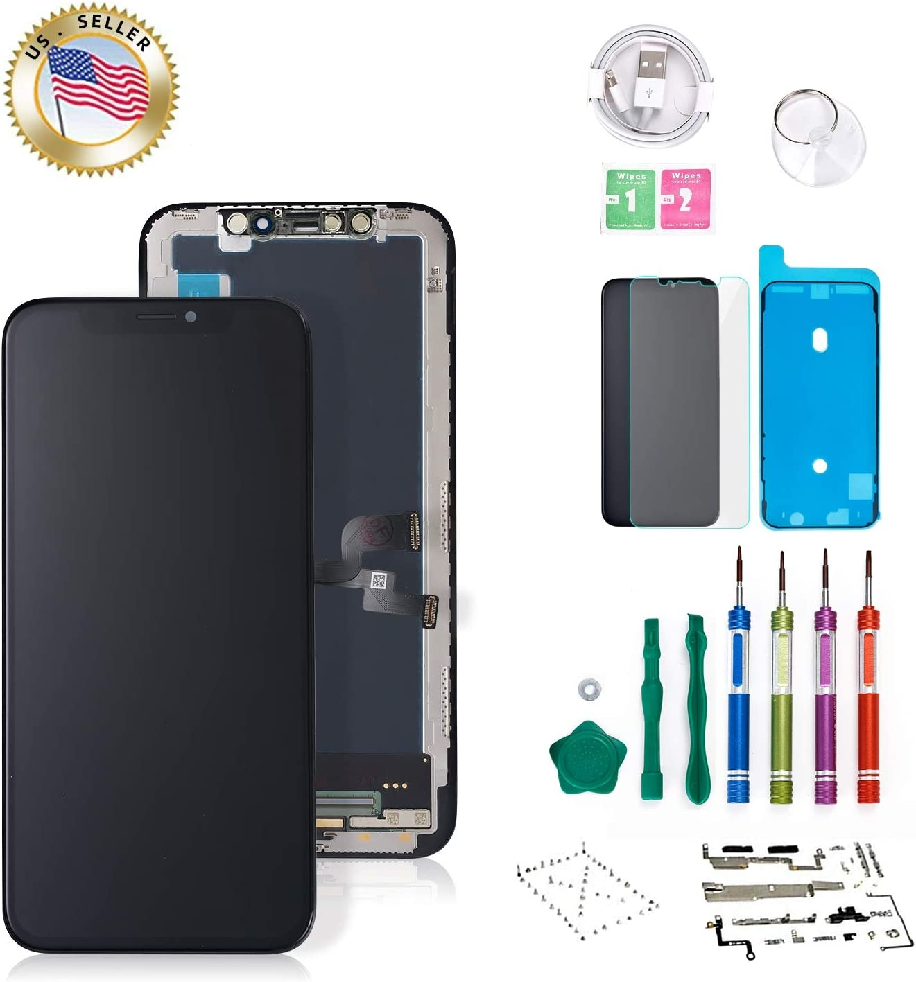 for iPhone X Screen Replacement OLED 5.8 inch Touch Screen Display Digitizer Repair Kit Assembly with Complete Repair Tools and Screen Protector NOT LCD