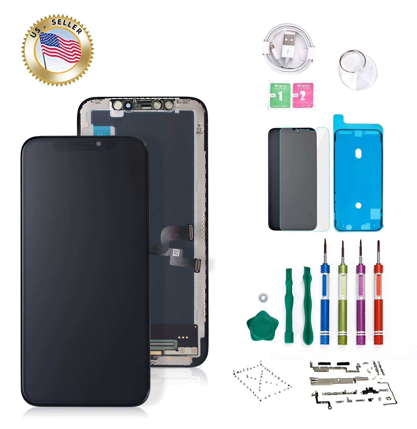 Screenmaster Screen Replacement for iPhone X OLED 5.8 inch [NOT LCD] Touch Screen Display Digitizer Repair Kit Assembly with Complete Repair Tools by Screenmaster