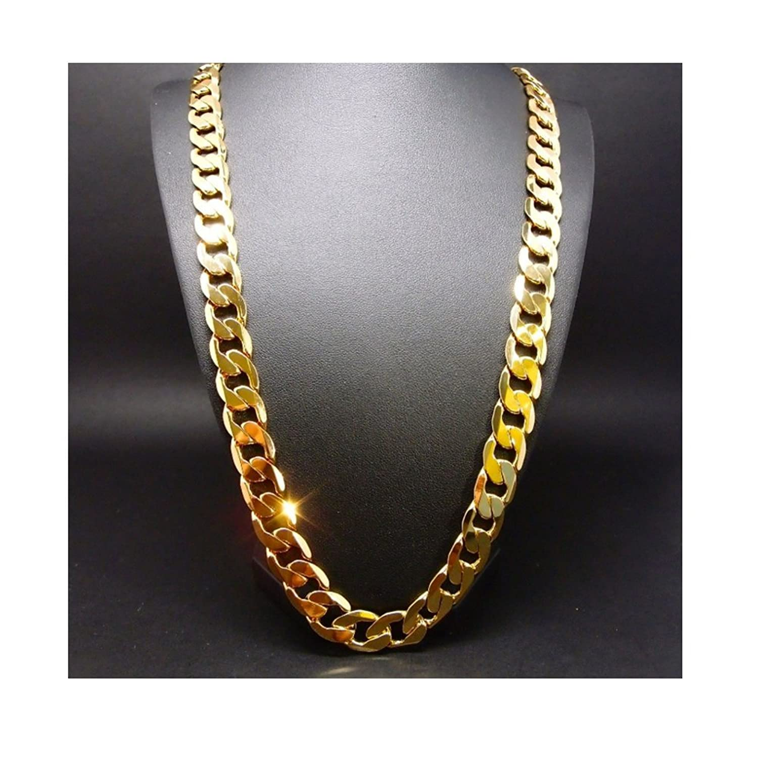 Hollywood Jewelry 24K Gold chain necklace 9MM Shinny for Men Hip ...