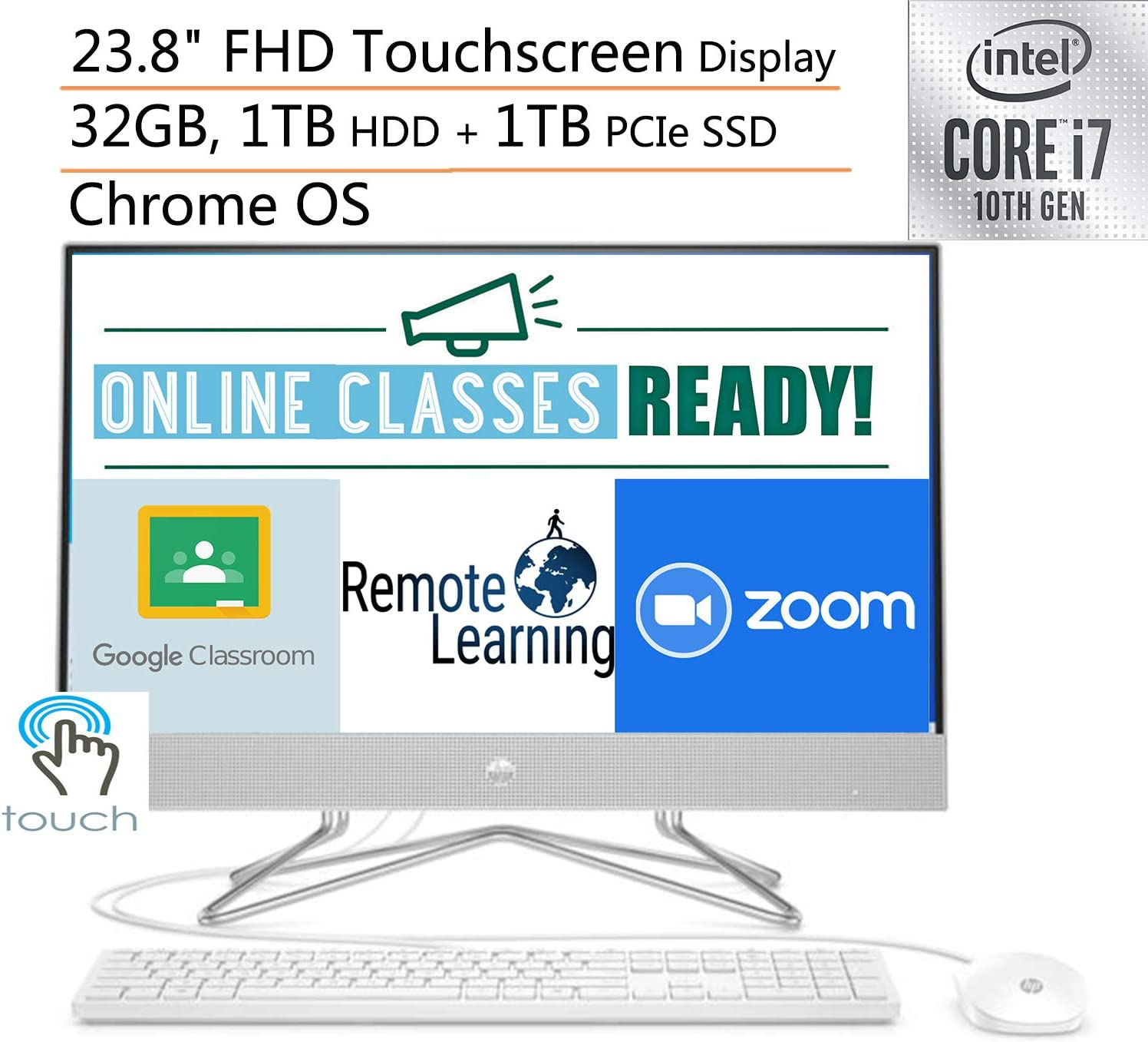"2020 HP 24 AIO 23.8"" FHD Touchscreen All in One Desktop Computer, 10th Gen Intel Quard-Core i7-10510U, 32GB DDR4 RAM, 1TB HDD + 1TB PCIe SSD, Windows 10, iPuzzle Mousepad, Online Class Ready"