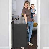 """YOOFOR Retractable Baby Gate, Extra Wide Safety Kids or Pets Gate, 33"""" Tall, Extends to 55"""" Wide, Mesh Safety Dog Gate…"""