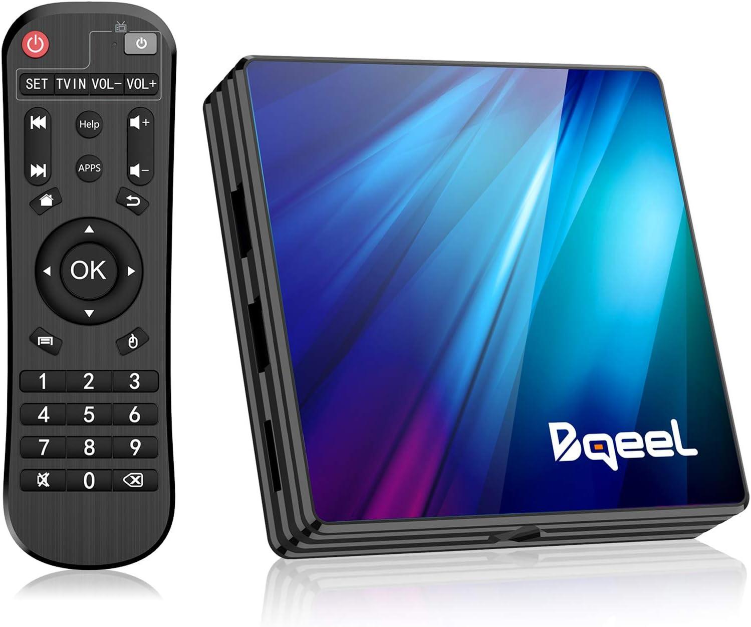 Bqeel Última 10.0 - Android TV Box, 4GB RAM+64GB ROM, RK3318 Quad-Core 64bit Cortex-A53 Soporte 2k*4K, WiFi 2.4G/5G,BT 4.0 ,USB 3.0 Smart TV Box