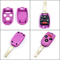 STAUBER Best Honda Key Shell Replacement for Accord Ridgeline Civic and CR-V - KR55WK49308 N5F-A05TAA N5F-S0084A - NO Locksmith Required! Save Money Using Your Old Key and chip! - Purple