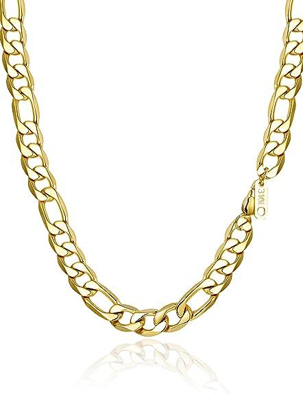 sailimue Figaro Cadena en Acero Inoxidable para Hombres Mujer Collar con Cadena de 4/6/9/13 mm Ancho Color Plata Oro Negro 46-76cm
