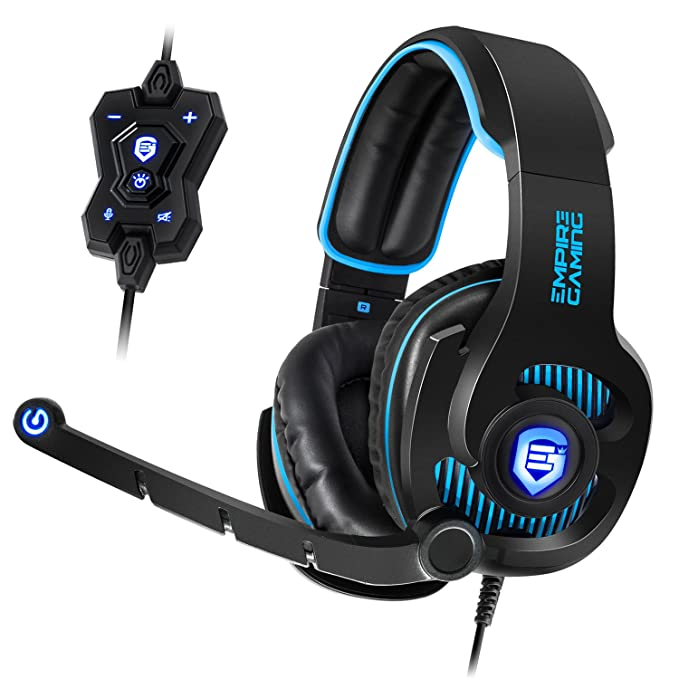 Empire Gaming H1800 - Casco para gamers PC sonido surround 7.1 virtual, mando a distancia filar, micro flexible y auriculares con retroiluminación LED azul. USB compatible con PC