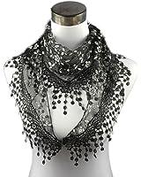 Bolayu Lace Tassel Sheer Floral Triangle Mantilla Scarf Chiffon Printed Silk Soft Shawl Scarf