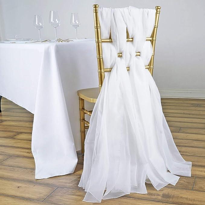 Efavormart 5 Pack 6 Ft White DIY Premium Chiffon Designer Chair Sashes for Wedding Banquet Decor Chair Bow Sash Party Decoration