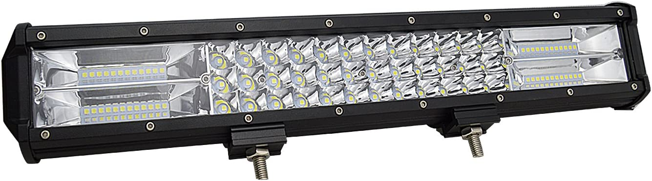 AUXTINGS 18 inch 252W Triple Row 7D Spot Flood Combo Beam LED Light Bar Waterproof LED Work Diving Lights for Off Road Jeep ATV AWD SUV 4WD 4x4 Pickup