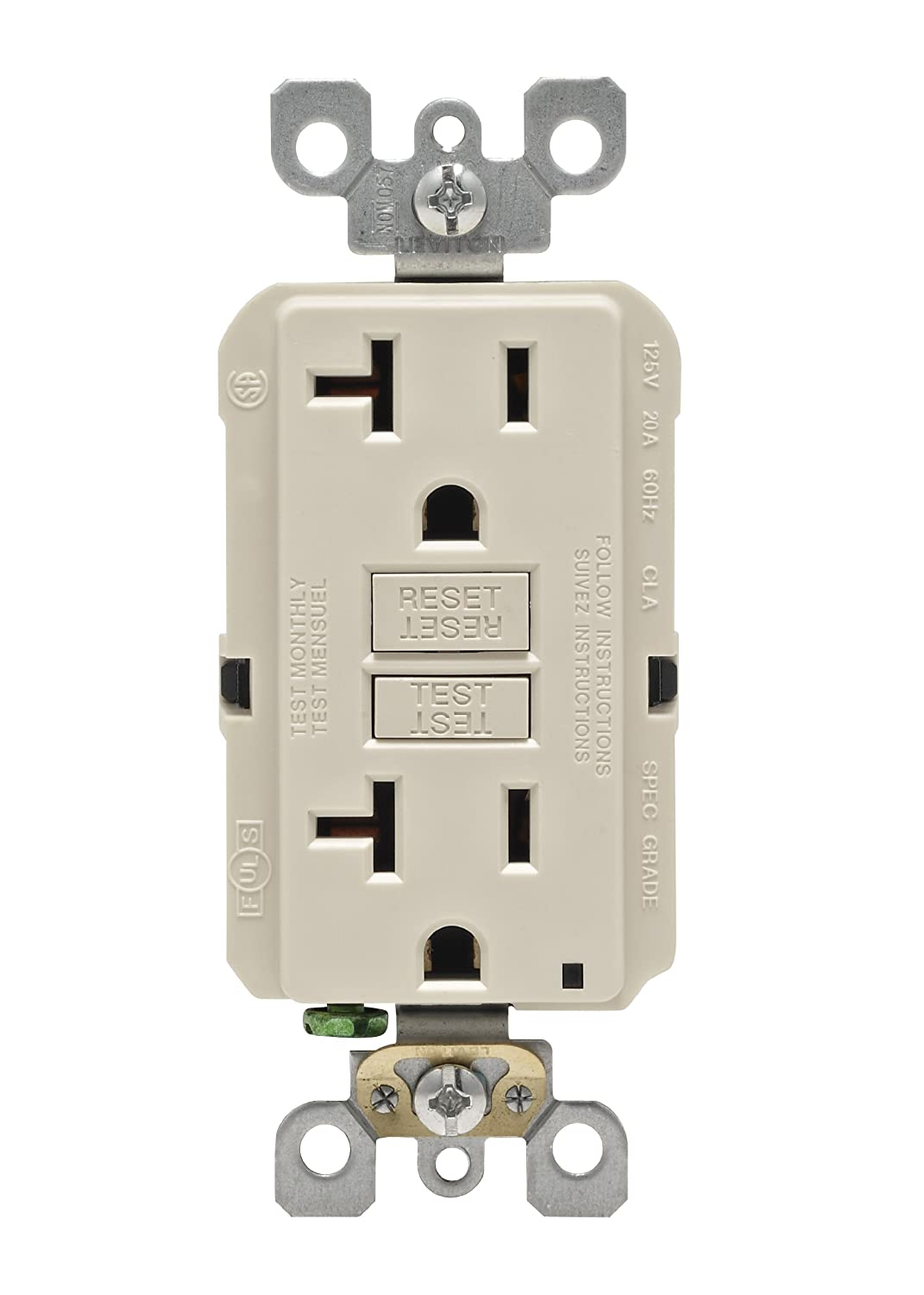 Leviton N7599-W 15-Amp 125-Volt SmartLock Pro Slim Non-Tamper-Resistant  Duplex GFCI Receptacle, White - Ground Fault Circuit Interrupter Outlets -  Amazon. ...