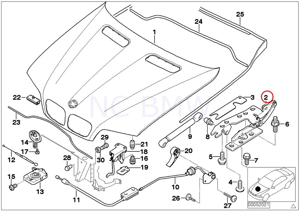Amazon Com Bmw Genuine Right Engine Hood Hinge Automotive