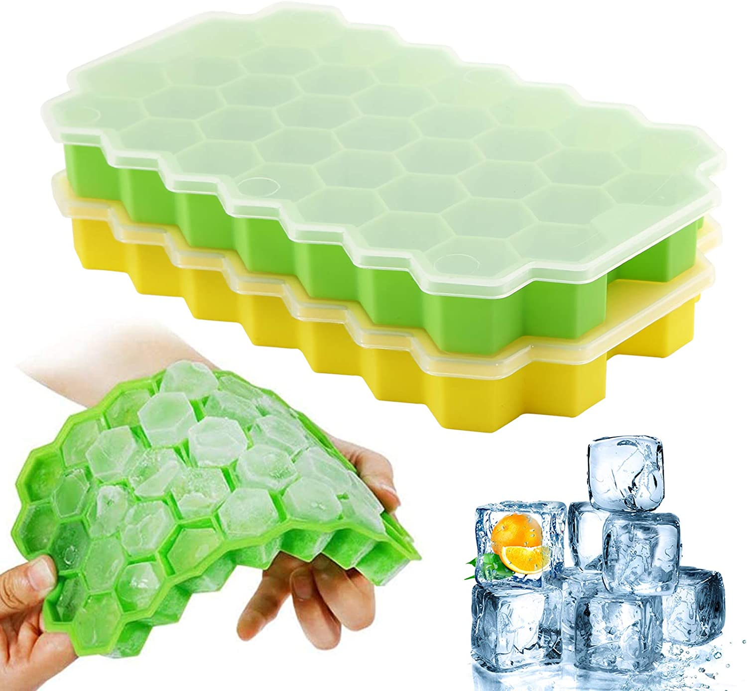 Ice Cube Trays with Lids, 2-Pack Ice Cubes Food Grade Full Silicone Silica Gel Flexible BPA Free 37 Honeycomb Ice Cube Molds for Chilled Drinks, Whiskey & Cocktails (GreenxYellow)