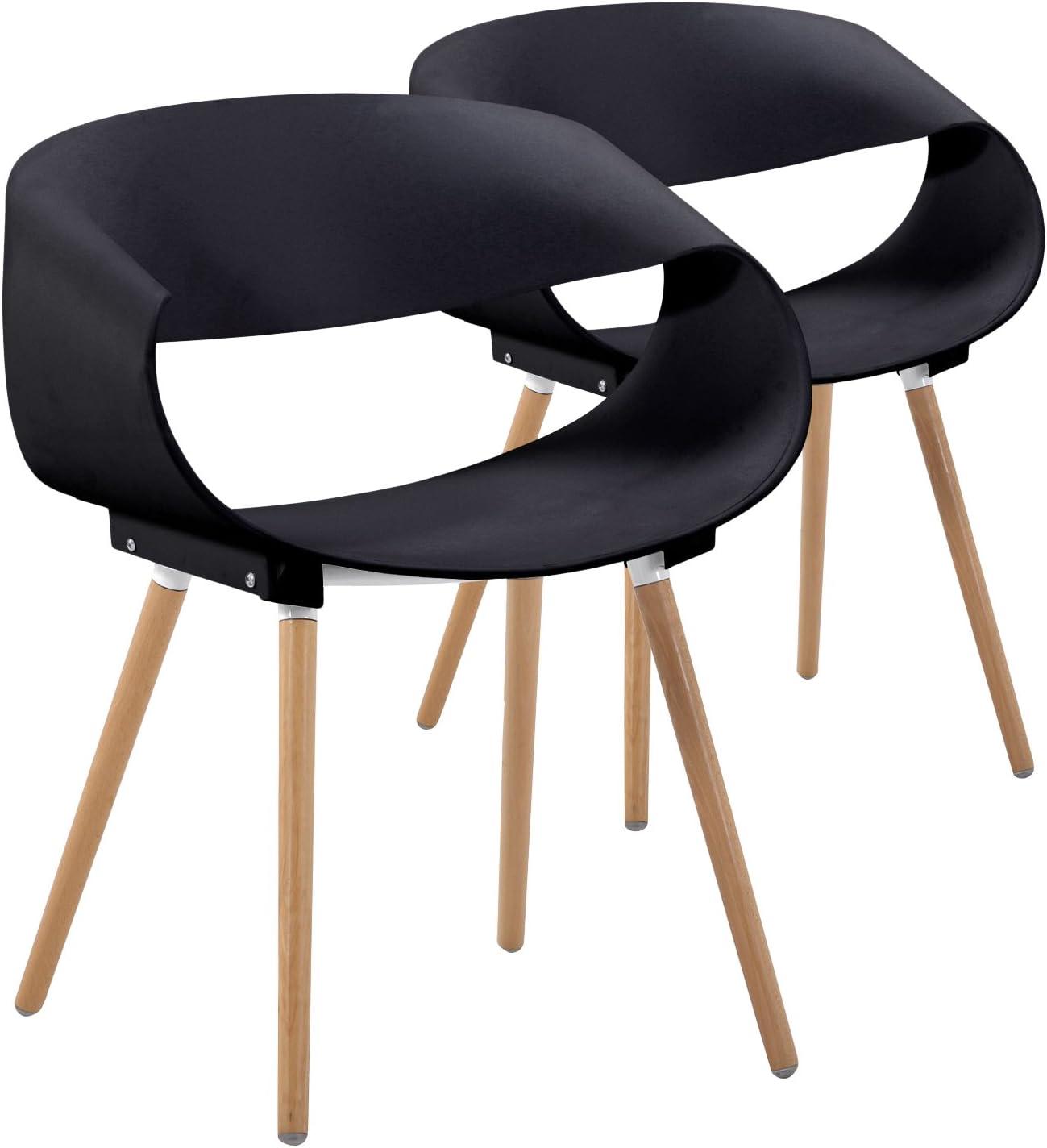 Menzzo Scandinaves – Juego de 2 sillas diseño Zenata Polipropileno Negro 64 x 75,5 x 49 cm: Amazon.es: Hogar