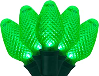 "C7 LED Faceted Green Prelamped Light Set, Green Wire - 25 C7 Green LED Christmas Lights, 8"" Spacing"