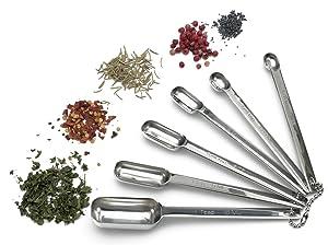 RSVP International RSVP International Endurance Stainless Steel Spice Measuring Spoon, Set of 6 (DILL), set 6, Silver