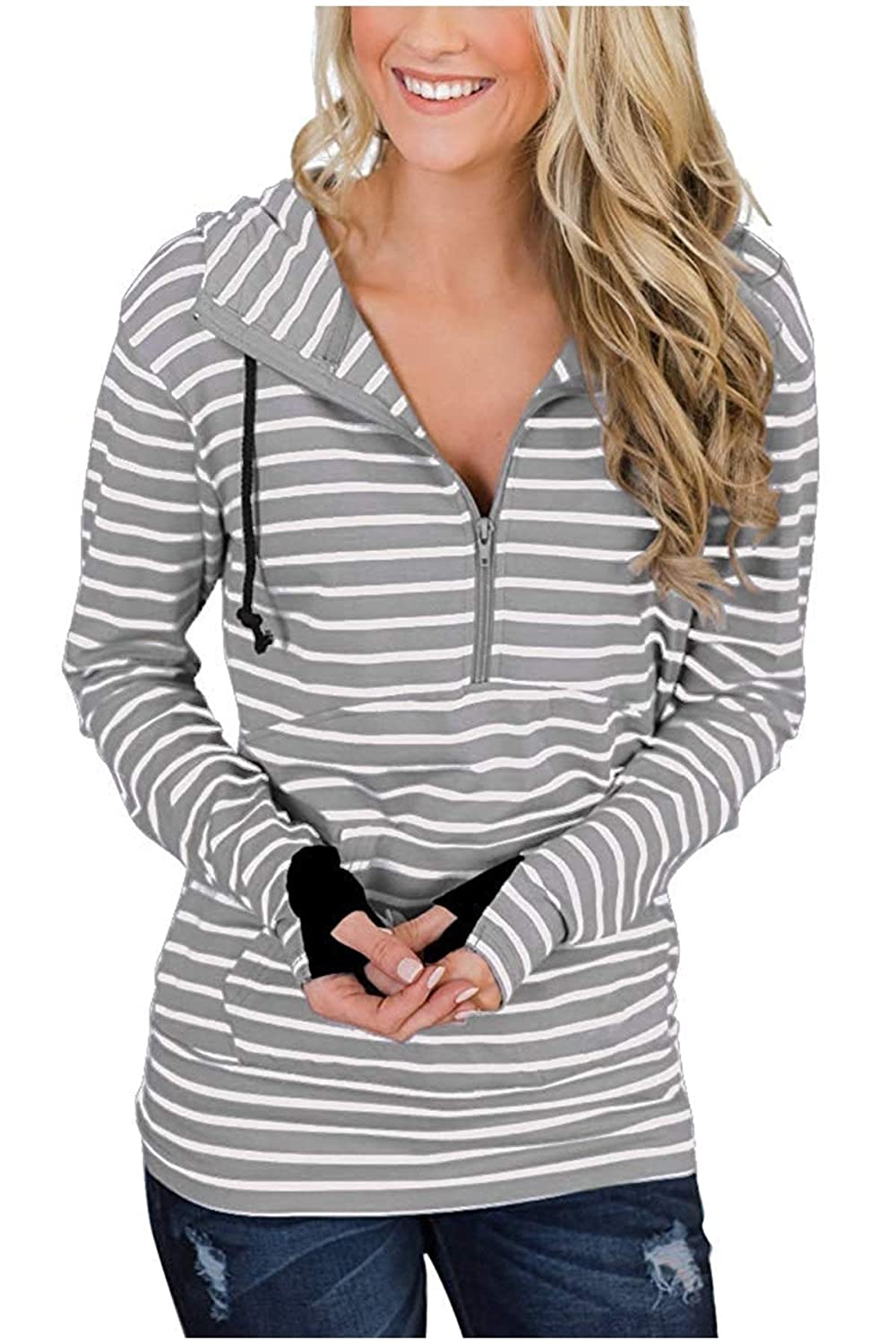 SportsX Women Casual Loose Fit Pocketed Zipper Stripe Pullover Shirts Top